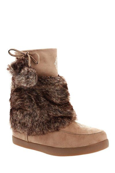 Pom Pom Fur Cuff Khaki Snow Boots-Single price
