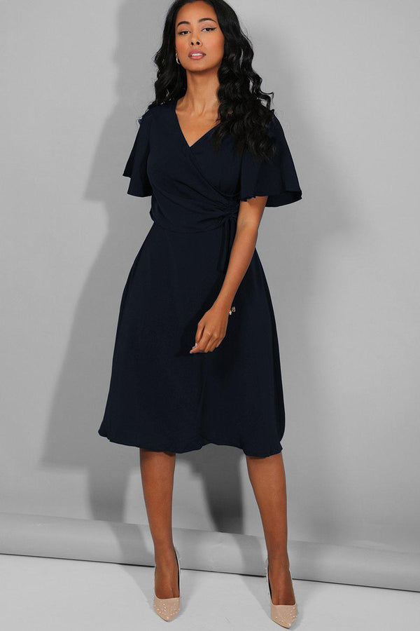Navy Side Ruched Midi Dress - SinglePrice