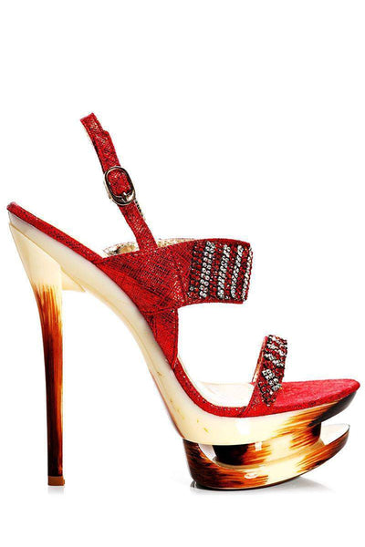 Red Embellished Stiletto Heels-Single price