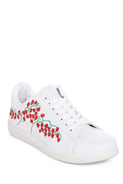 Red Floral Embroidered White Trainers-SinglePrice