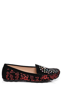 Red Flower Embroidered Black Flat Shoes-SinglePrice