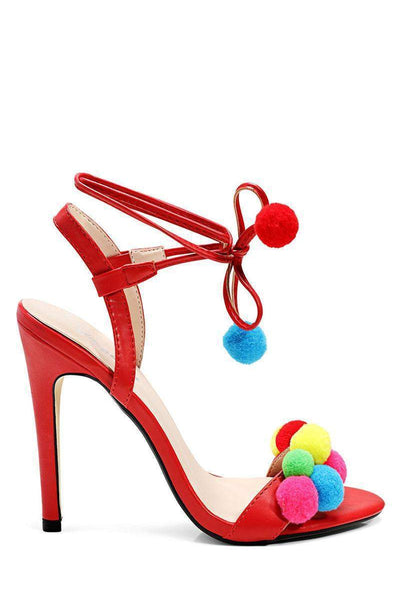 Red Pom Pom Heels-Single price
