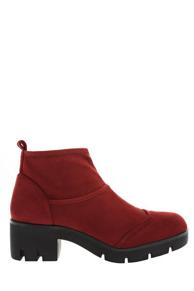 Red Sock Block Heeled Ankle Boots-Single price