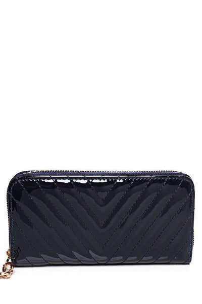 Ribbed Patent Navy Purse-SinglePrice