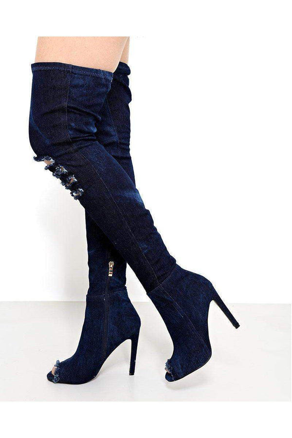 Ripped Knee Dark Denim Over The Knee Boots-SinglePrice