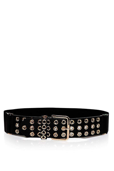 Rivets Embellished Black Elastic Belt-SinglePrice