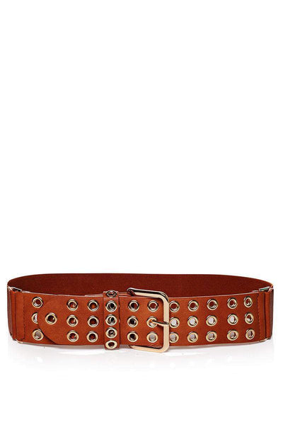 Rivets Embellished Brown Elastic Belt-SinglePrice