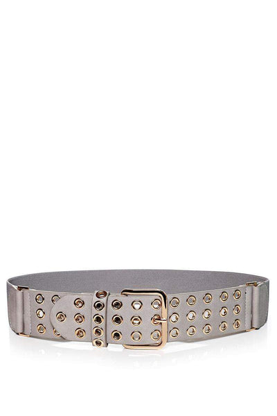 Rivets Embellished Grey Elastic Belt-SinglePrice