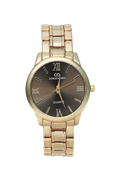 Roman Digits Gold Band Black Dial Watch-SinglePrice