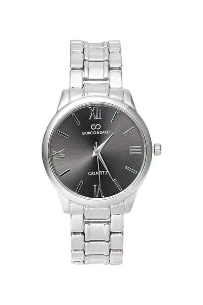 Roman Digits Silver Band Black Dial Watch-SinglePrice