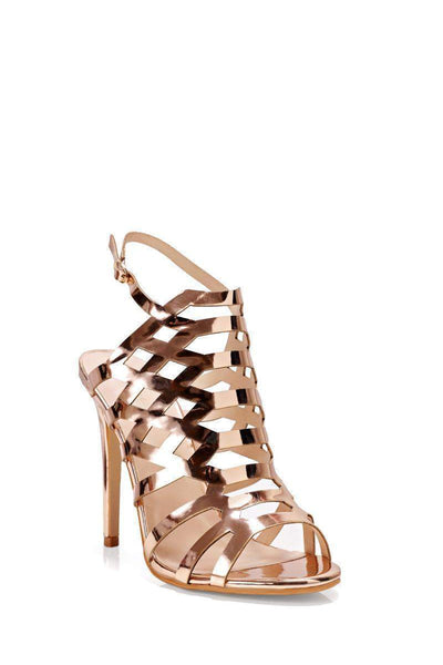 Rose Gold Metallic Cage Heels-Single price