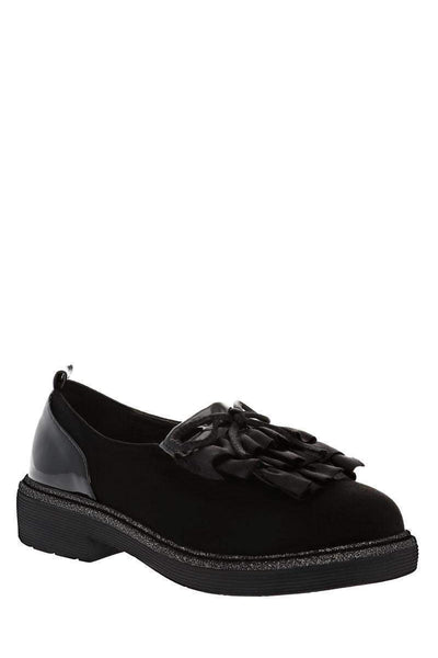 Ruffle Front Black Loafer Shoes-Single price
