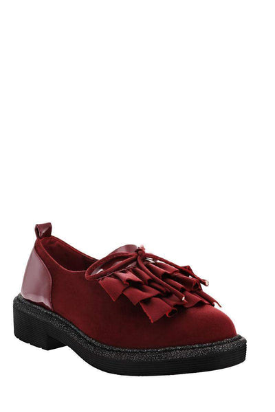 Ruffle Front Dark Red Loafer Shoes-Single price