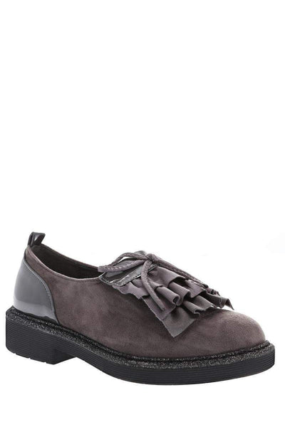 Ruffle Front Grey Loafer Shoes-Single price