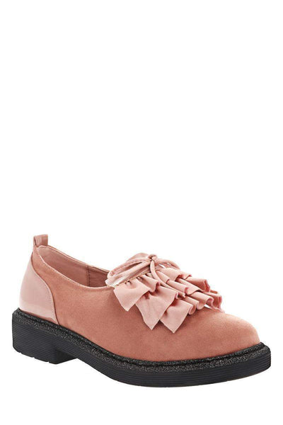 Ruffle Front Pink Loafer Shoes-Single price