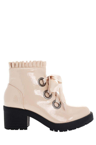 Satin Bow Patent Beige Boots-Single price