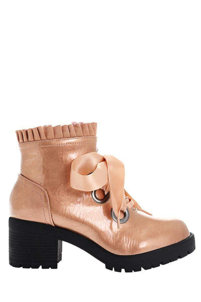 Satin Bow Patent Champagne Boots-Single price