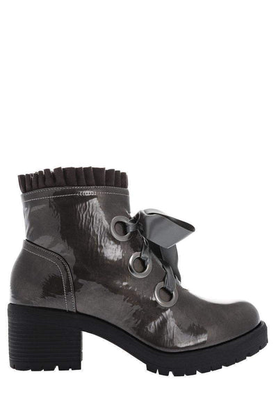 Satin Bow Patent Grey Boots-Single price