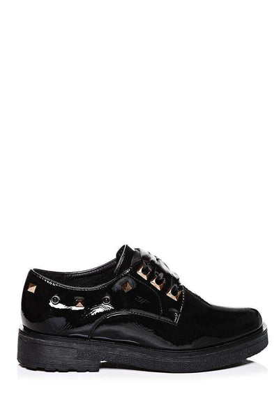 Satin Bow Studded Black Oxford Shoes-SinglePrice