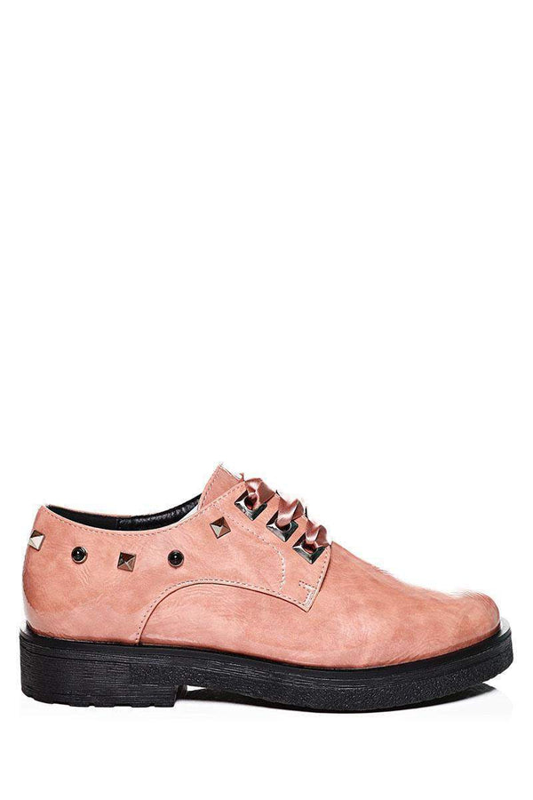 Satin Bow Studded Pink Oxford Shoes-SinglePrice