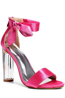Satin Side Bow Fuchsia Perspex Heels-Single price