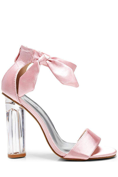 Satin Side Bow Pink Perspex Heels-Single price