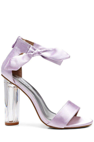 Satin Side Bow Purple Perspex Heels-Single price