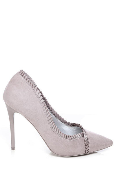 Satin Trim Grey Suede Stiletto Heels-SinglePrice