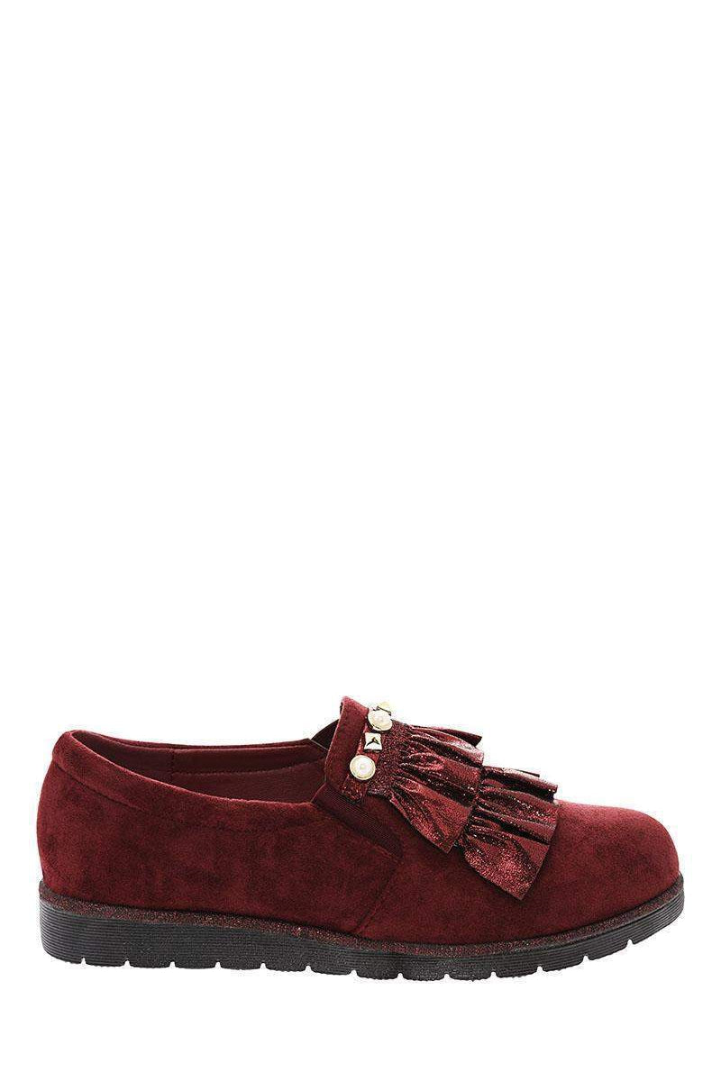 Shimmer Ruffle Studded Maroon Flats-Single price