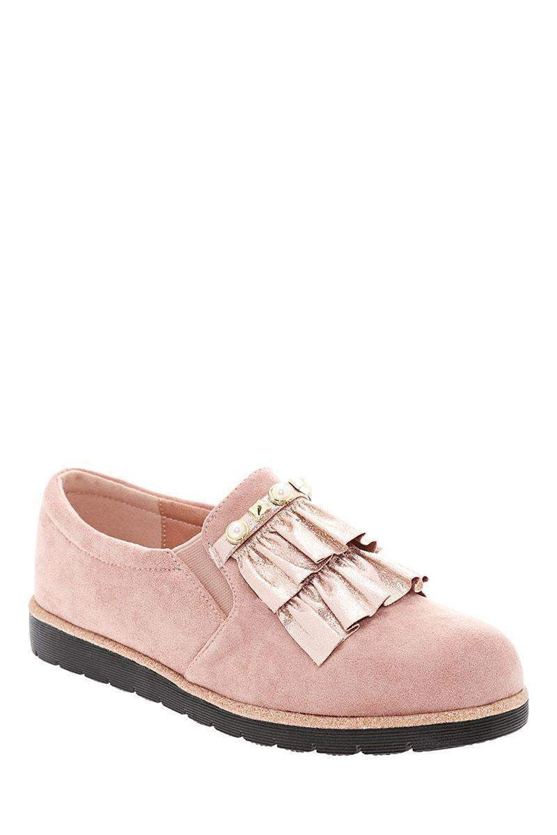 Shimmer Ruffle Studded Pink Flats - SinglePrice