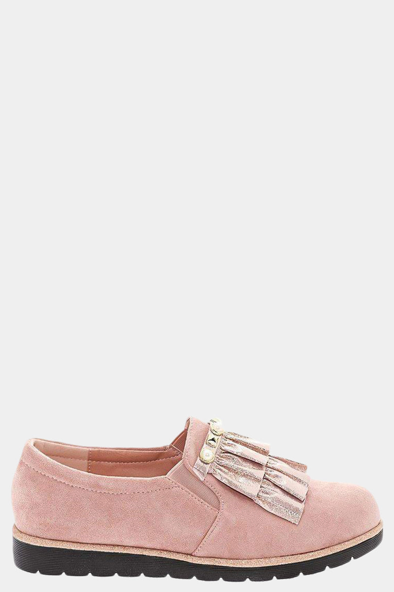 Shimmer Ruffle Studded Pink Flats-Single price