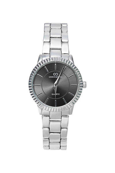 Silver Band Ribbed Black Dial Watch-SinglePrice