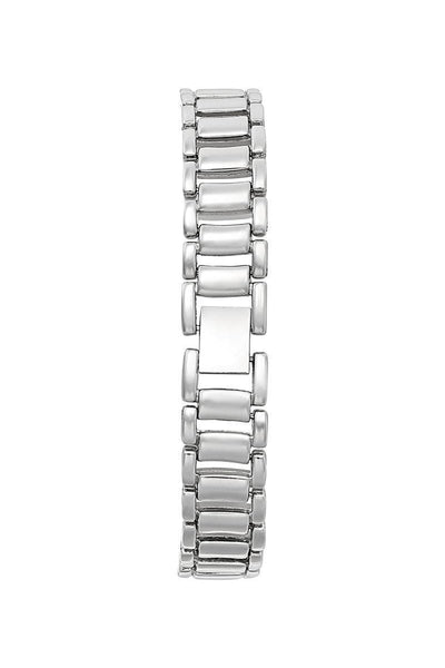 Silver Bracelet Black Dial Half Encrusted Diamante Watch-SinglePrice