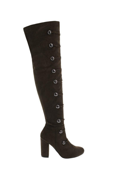 Silver Buttons Green Over The Knee Boots-Single price