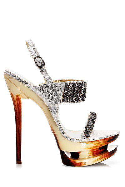 Silver Embellished Stiletto Heels-Single price