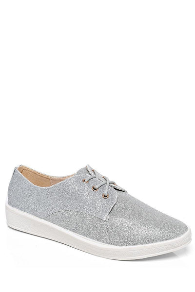 Silver Glitter Flat Shoes-SinglePrice