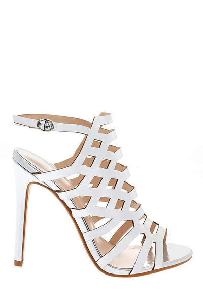Silver Metallic Cage Heels-Single price