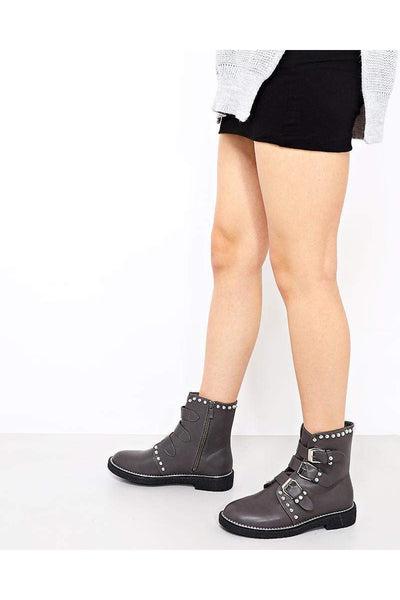 Silver Pearl Studs Grey Biker Boots-SinglePrice