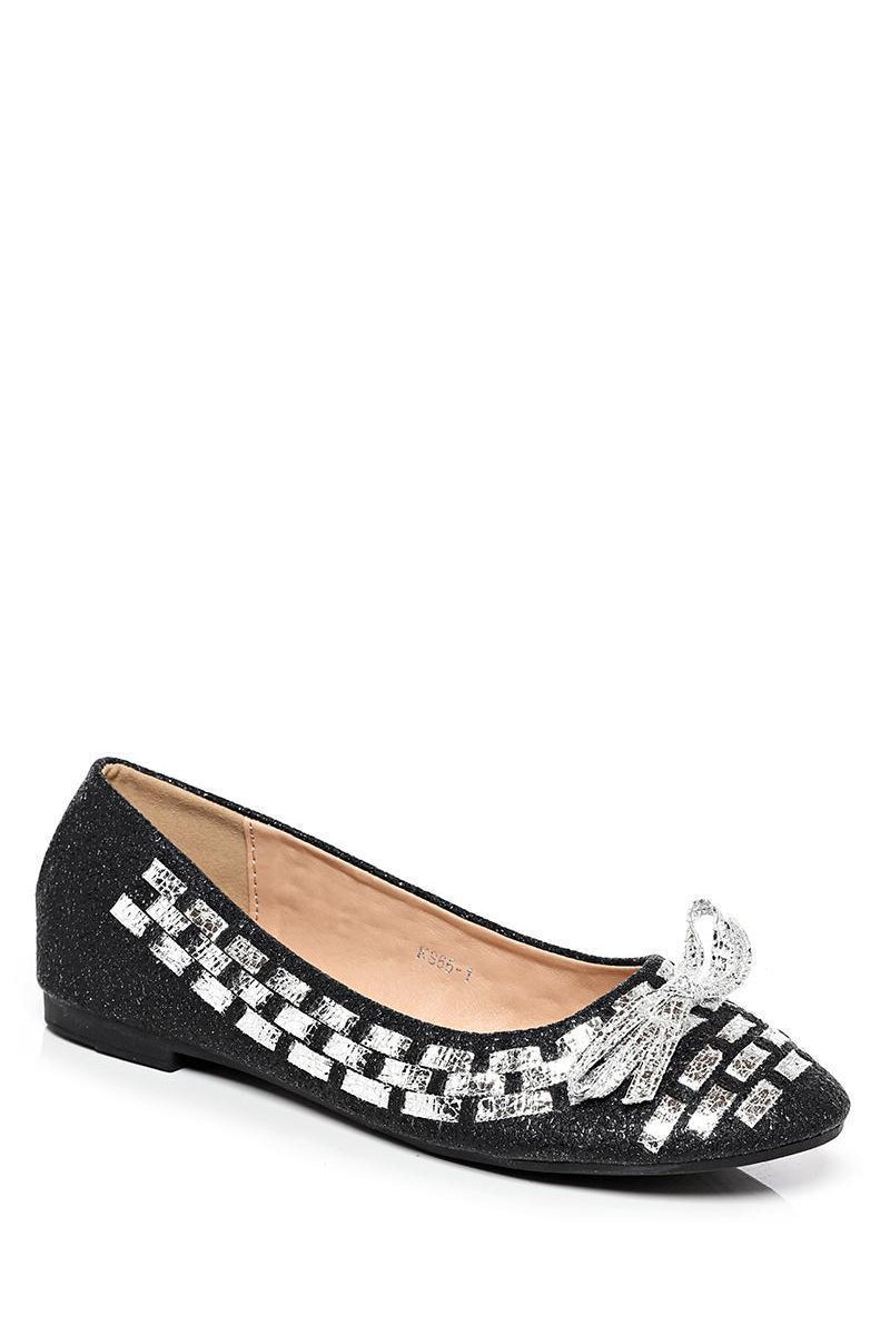 Silver Woven Detail Black Flats-SinglePrice