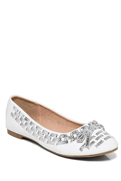 Silver Woven Detail White Flats-SinglePrice