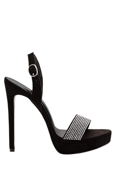 Slingback Black Barely There Heels-Single price