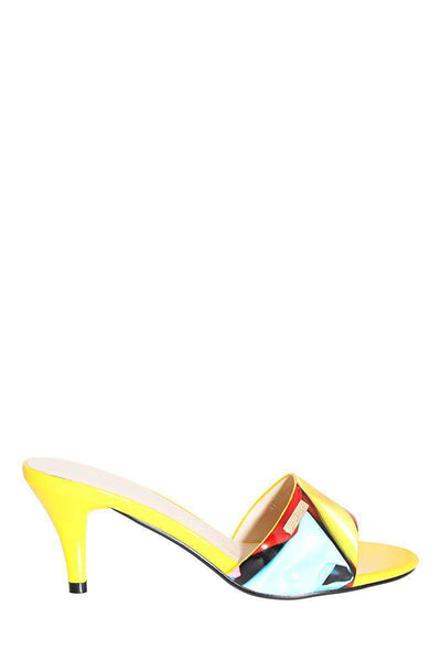 Slip In Yellow Kitten Heels-Single price