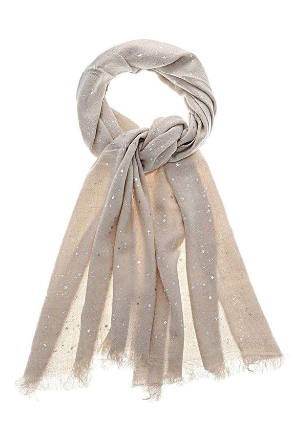 Star Pattern Sheer Knit Beige Scarf - SinglePrice