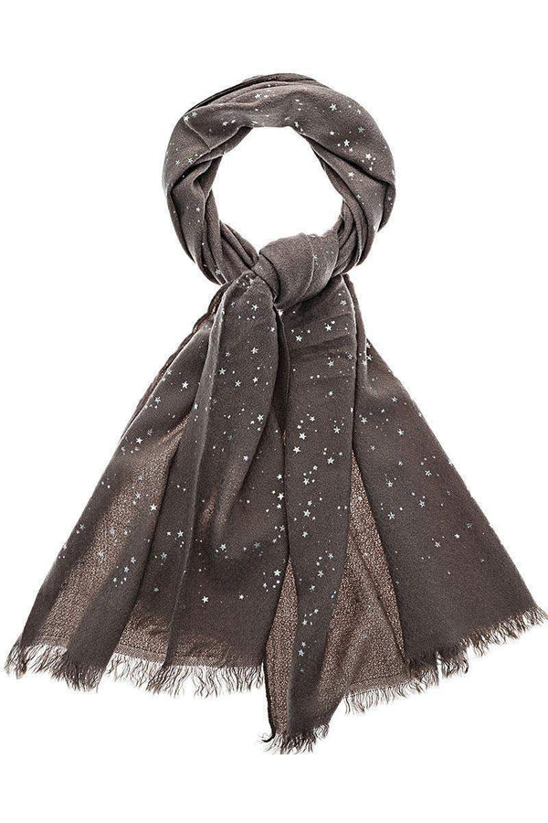 Star Pattern Sheer Knit Grey Scarf-Single price