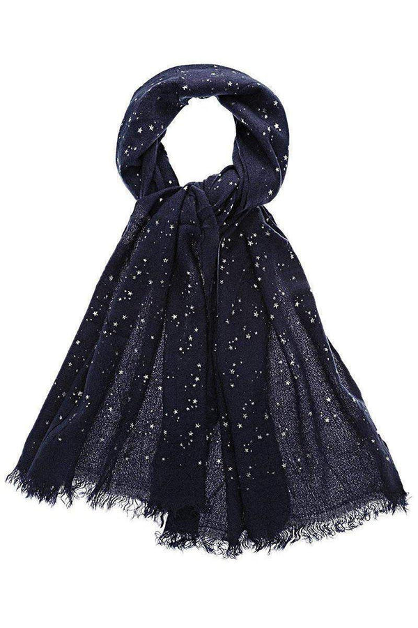 Star Pattern Sheer Knit Navy Blue Scarf - SinglePrice