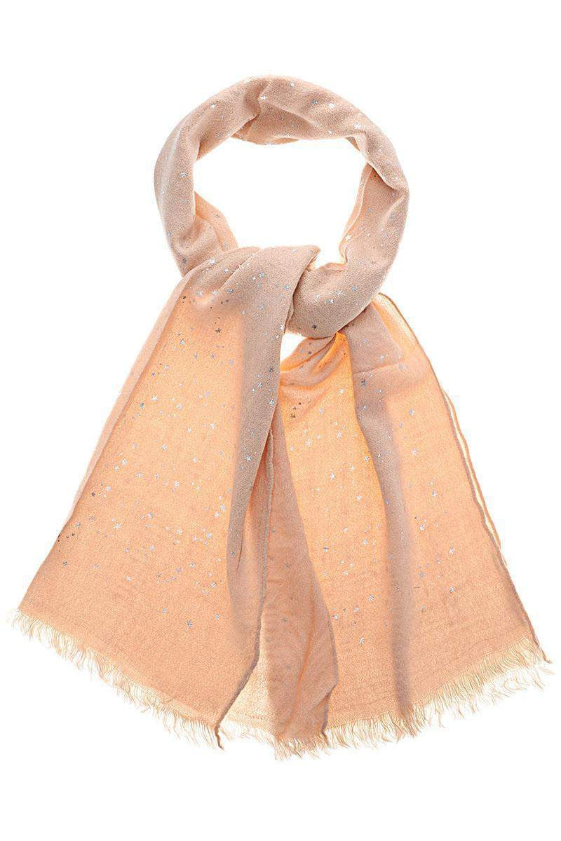 Star Pattern Sheer Knit Pink Scarf - SinglePrice