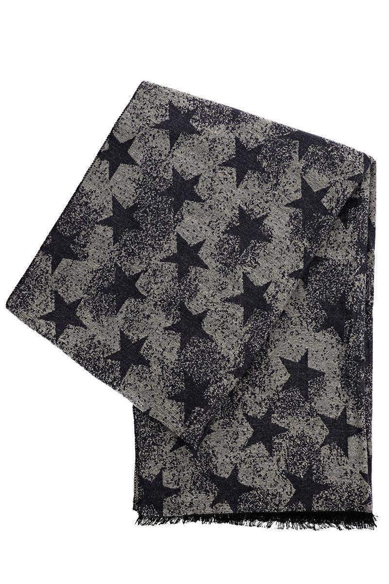 Star Print Denim Black Winter Scarf - SinglePrice