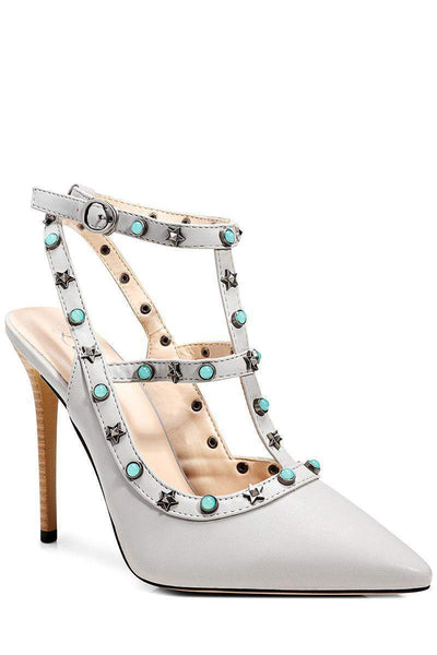 Star Studded T-Bar Grey Pointed Stiletto Heels-Single price