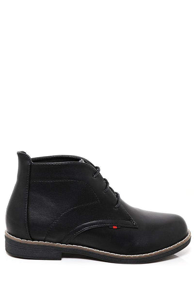 Stitch Detail Black Oxford Boots-SinglePrice