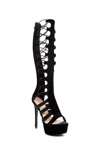 Strappy Elastic Gladiator Platform Boots Black-Single price